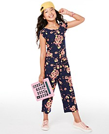 Big Girls Floral-Print Flutter-Sleeve Jumpsuit, Created for Macy's
