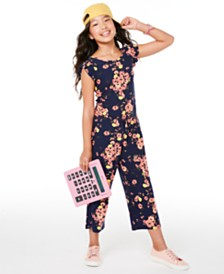 Epic Threads Big Girls Floral-Print Flutter-Sleeve Jumpsuit, Created for Macy's