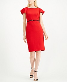 Belted Ruffle-Sleeve Sheath Dress