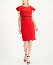 Calvin Klein Petite Ruffle-Shoulder Sheath Dress
