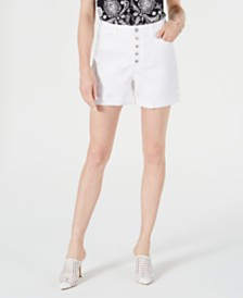 I.N.C. High-Rise Button-Fly Curvy-Fit Jean Shorts, Created for Macy's