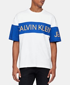 Calvin Klein Jeans Men's Colorblocked Retro Traveling Logo Graphic T-Shirt