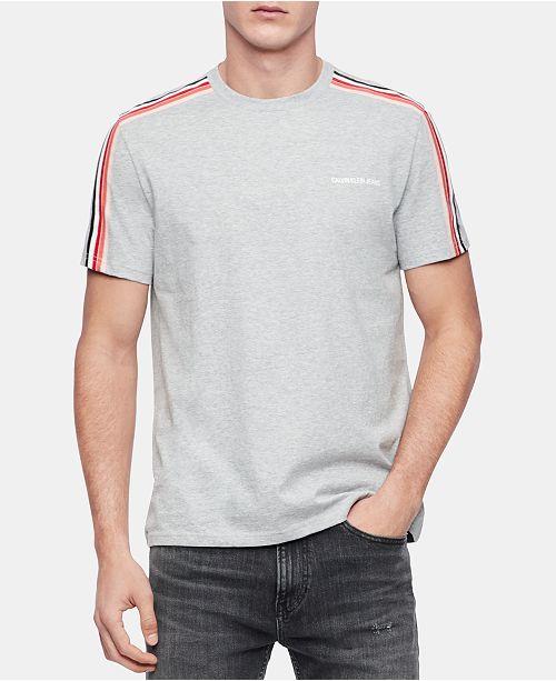 Calvin Klein Jeans Men's Sleeve-Stripe Logo Graphic T-Shirt