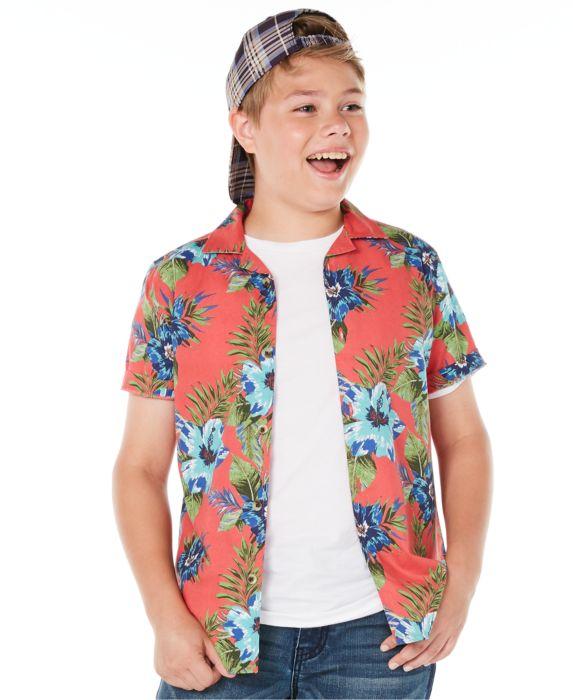 Epic Threads Big Boys Floral-Print Poplin Camp Shirt , Red, Size: M (12/14)