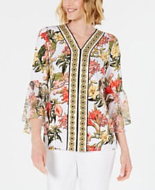 JM Collection Chiffon Bell-Sleeve Top, Created for Macy's