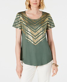 JM Collection Metallic-Print Scoop-Neck Top, Created for Macy's