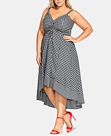 Trendy Plus Size Gingham-Print Fit & Flare Dress