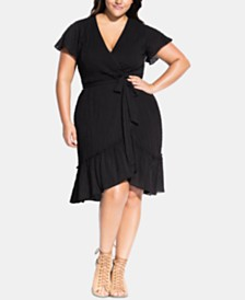City Chic Trendy Plus Size Striped Faux-Wrap Fit & Flare Dress