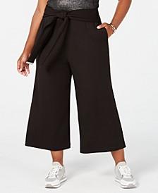 Plus Size Wide-Leg Cropped Pants