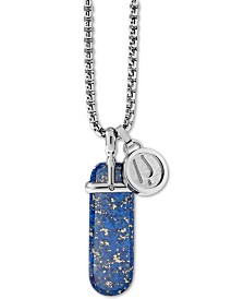 "Bulova Men's Black Lapis Pendant Necklace in Stainless Steel, 26"" + 2"" Extender"