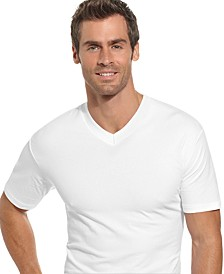 Men's Underwear, Tagless Cotton Spandex 2 Pack V Neck Undershirts