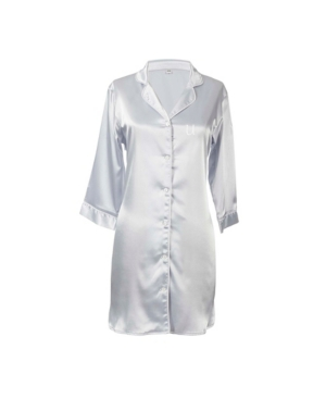 Cathy's Concepts PERSONALIZED MONOGRAM SILVER SATIN NIGHTSHIRT, ONLINE ONLY