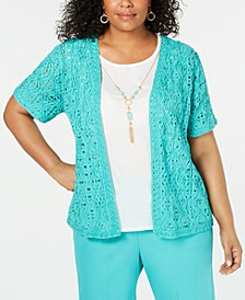 Plus Size Coastal Drive Cotton Layered-Look Necklace Top
