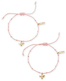 Kitsch Gold-Tone 2-Pc. Set Bee Charm String Slider Bracelets