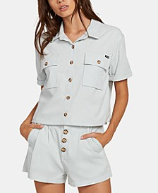 Juniors' Cotton Cropped Shirt