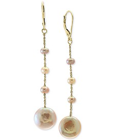 EFFY® Pink Cultured Freshwater Pearl Drop Earrings (3-1/2 & 12mm) in 14k Gold