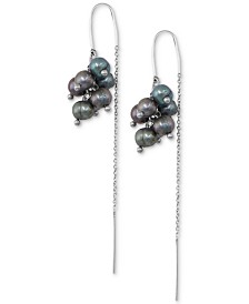 Lucky Brand Silver-Tone Freshwater Pearl (3-4mm) Cluster Threader Earrings
