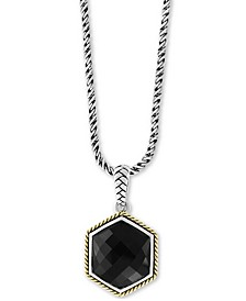 "EFFY® Onyx (17-1/2 x 15mm) Hexagon 18"" Pendant Necklace in Sterling Silver & 18k Gold-Plate"