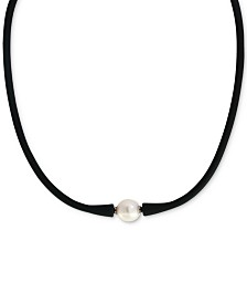 "EFFY® Cultured Freshwater Pearl (11mm) Black Silicone 14"" Choker Necklace"