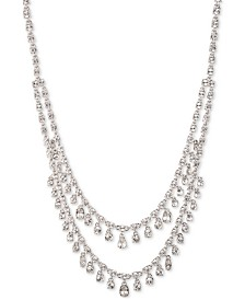 "Givenchy Silver-Tone Shaky Crystal Double-Row Statement Necklace, 19"" + 1"" extender"