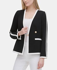 Calvin Klein Contrast-Trim One-Button Jacket