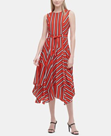 Calvin Klein Striped Handkerchief-Hem Dress