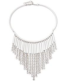 "Silver-Tone Crystal Chain Fringe Frontal Necklace, 16"" + 3"" extender"