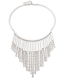 "Givenchy Silver-Tone Crystal Chain Fringe Frontal Necklace, 16"" + 3"" extender"