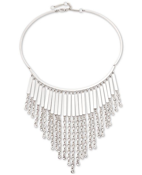 """Givenchy Silver-Tone Crystal Chain Fringe Frontal Necklace, 16"""" + 3"""" extender"""