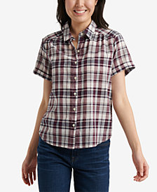 Lucky Brand Plaid Button-Down Top