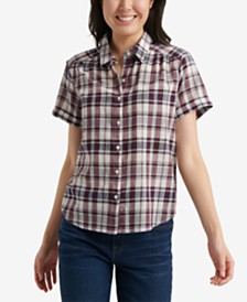Lucky Brand Cotton Plaid Button-Up Top