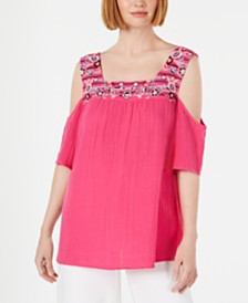 Style & Co Cotton Embroidered Cold-Shoulder Top, Created for Macy's