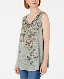 Style & Co Embellished V-Neck Top, Created for Macy's