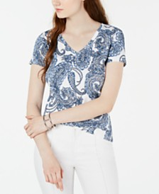 Tommy Hilfiger Paisley Cotton V-Neck T-Shirt, Created for Macy's