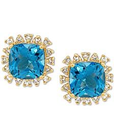 Swiss Blue Topaz (3-5/8 ct. t.w.) & White Topaz (1/4 ct. t.w.) Stud Earrings in 10k Gold