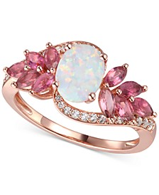 Multi-Gemstone (1-5/8 ct. t.w.) & Diamond (1/6 ct. t.w.) Statement Ring in 14k Rose Gold