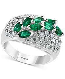EFFY® Emerald (1-1/4 ct. t.w.) & Diamond (3/4 ct. t.w.) Ring in 14k White Gold