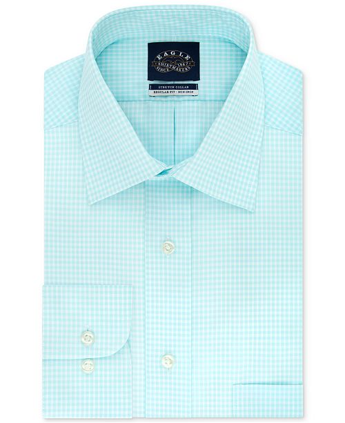 Eagle Men's Classic/Regular-Fit Non-Iron Stretch-Collar Check Dress Shirt