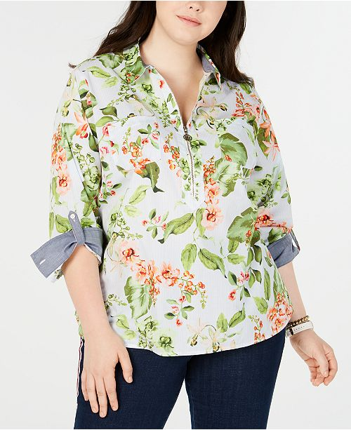 Tommy Hilfiger Plus Size Cotton Floral-Print Shirt, Created for Macy's