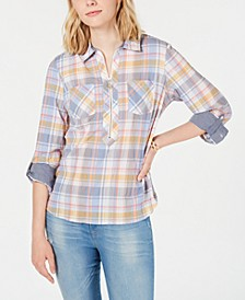 Crinkle-Plaid Popover Top