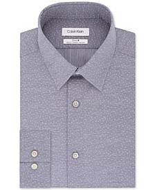 Calvin Klein Men's Steel Slim-Fit Stretch Performance Non-Iron Blue Dot-Print Dress Shirt