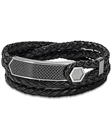 Men's Braided Leather Wrap Bracelet in Stainless Steel