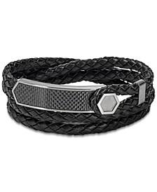 Men's Braided Leather Wrap Bracelet in Stainless Steel