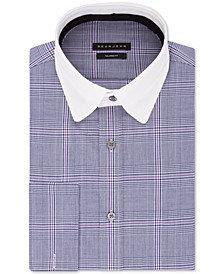 Men's Big & Tall Classic/Regular-Fit Blue Plaid French Cuff Dress Shirt