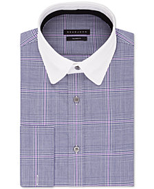 Sean John Men's Big & Tall Classic/Regular-Fit Blue Plaid French Cuff Dress Shirt