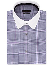 Sean John Men's Classic/Regular-Fit Blue Plaid French Cuff Dress Shirt