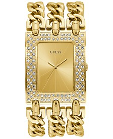 GUESS Women's Gold-Tone Stainless Steel Chain Bracelet Watch 39x47mm
