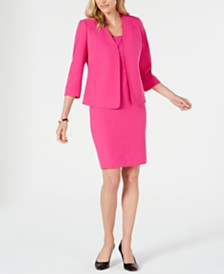 Kasper Collarless Stretch-Crepe Jacket	& Sheath Dress