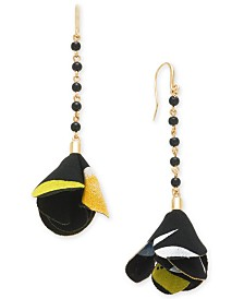 I.N.C. Gold-Tone Linear Bead and Fabric Flower Drop Earrings, Created for Macy's