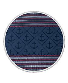 Anchor Turkish Cotton Round Beach Towel